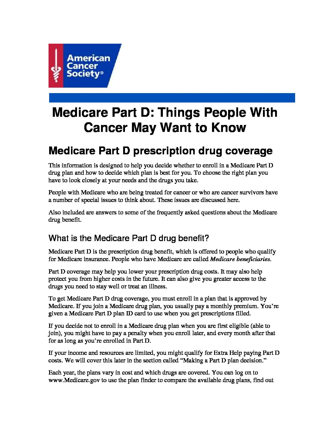 Part D (cancer) Resources For Medicare Beneficiaries Resources Federal  Employees Health Benefits Employee Health